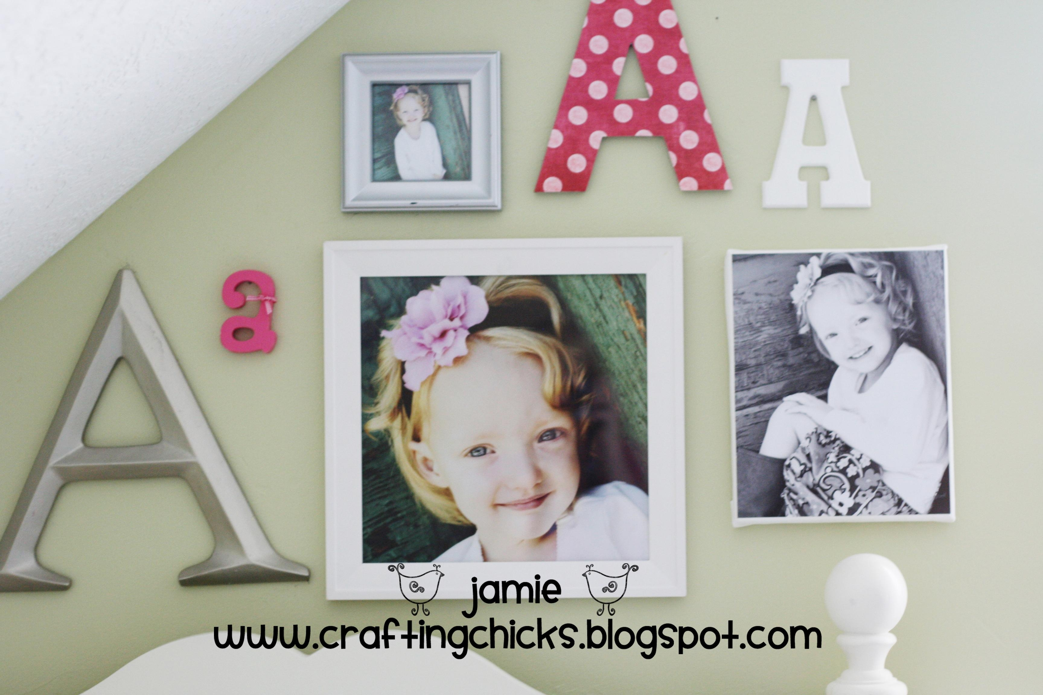 Diy Kid Room Decor Monogram Photo Wall – The Crafting Chicks With Wall Art For Little Girl Room (View 16 of 20)