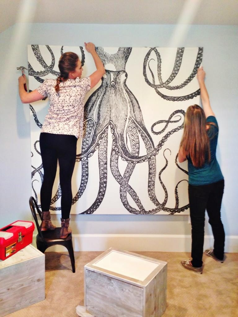 Diy Octopus Art – House Of Jade Interiors Blog Inside Turn Pictures Into Wall Art (Image 4 of 20)
