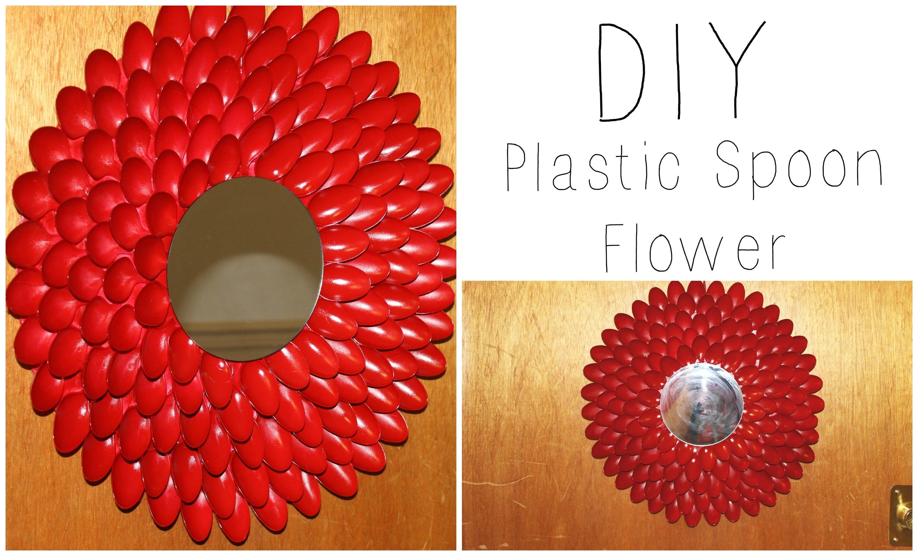 Diy: Plastic Spoon Flower Wall Hanging / Wreath ♡ {House Decor Within Plastic Spoon Wall Art (View 2 of 20)