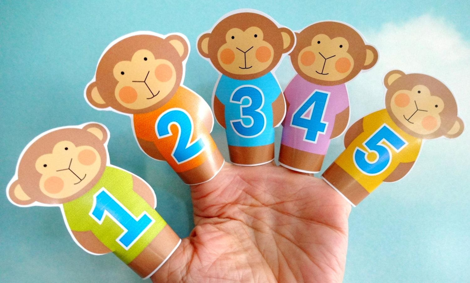 Diy Printable Finger Puppets Five Little Monkeys Jumping On Throughout No More Monkeys Jumping On The Bed Wall Art (Image 4 of 20)