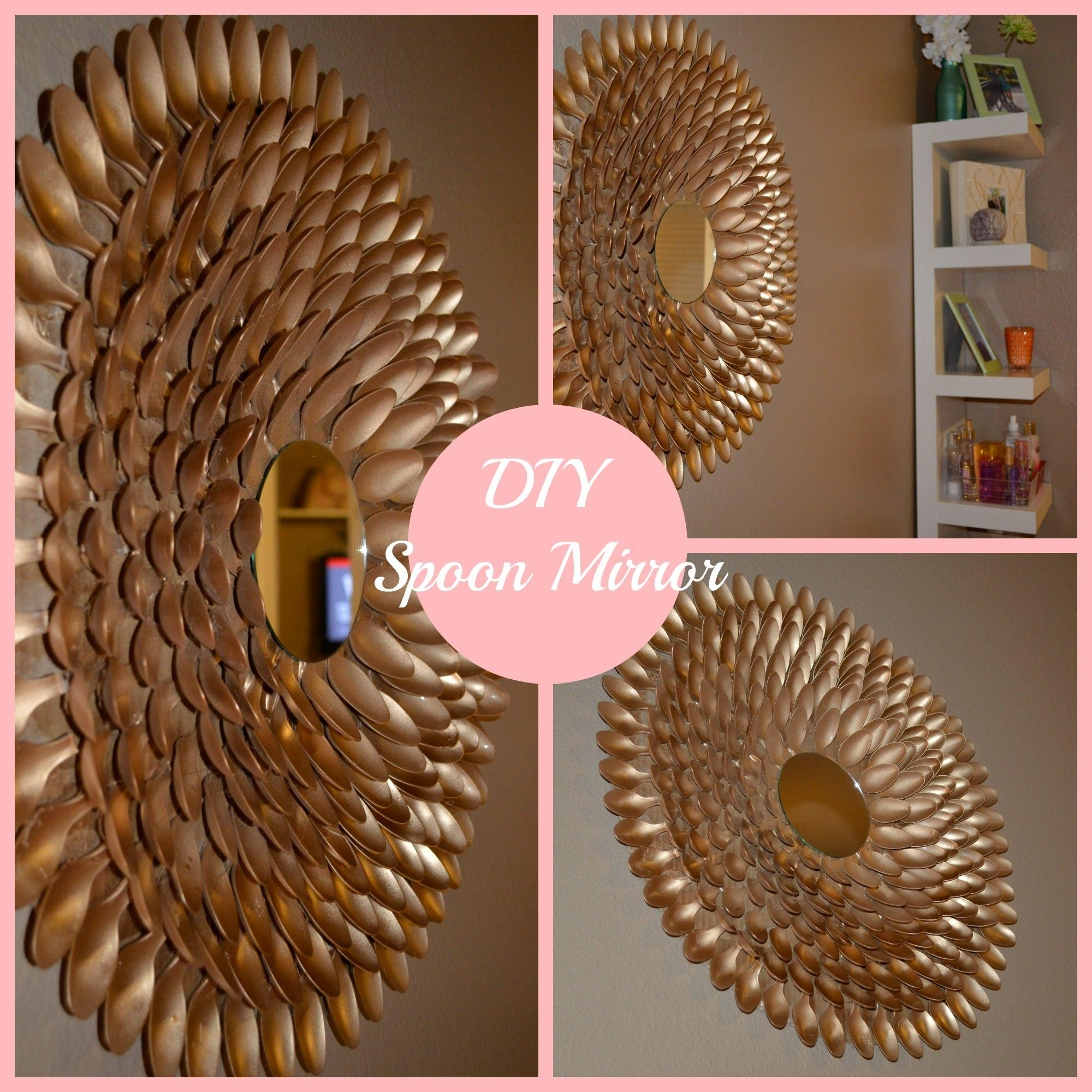 Diy Spoon Mirror Wall Decor – Youtube Intended For Plastic Spoon Wall Art (View 1 of 20)