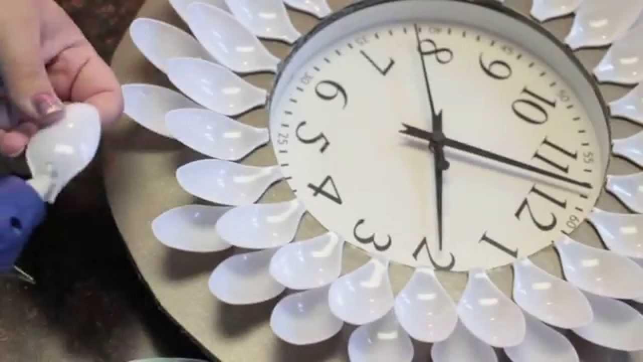 Diy Under 20 Dollar Wall Clock – Youtube Inside Plastic Spoon Wall Art (Image 7 of 20)
