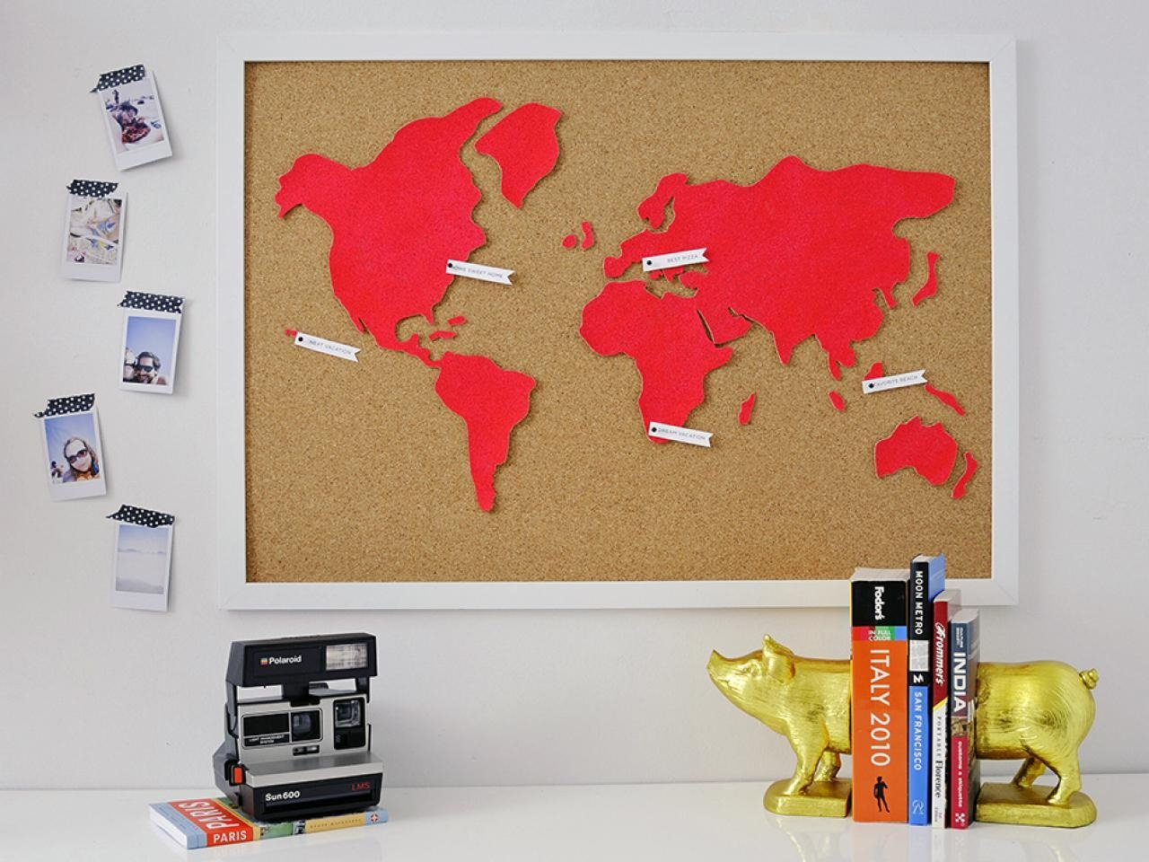Diy Wall Art: Make A Custom Corkboard World Map | Hgtv Pertaining To Diy Origami Wall Art (Image 5 of 20)