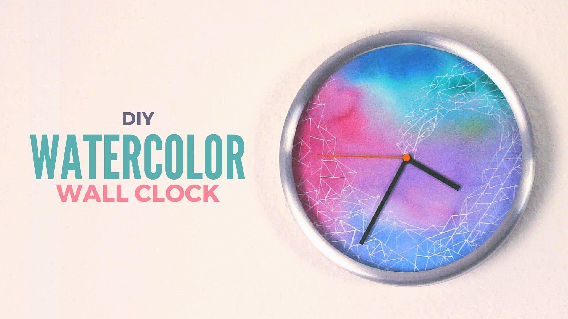 Diy: Watercolor Wall Clock – Youtube With Diy Watercolor Wall Art (Image 14 of 20)