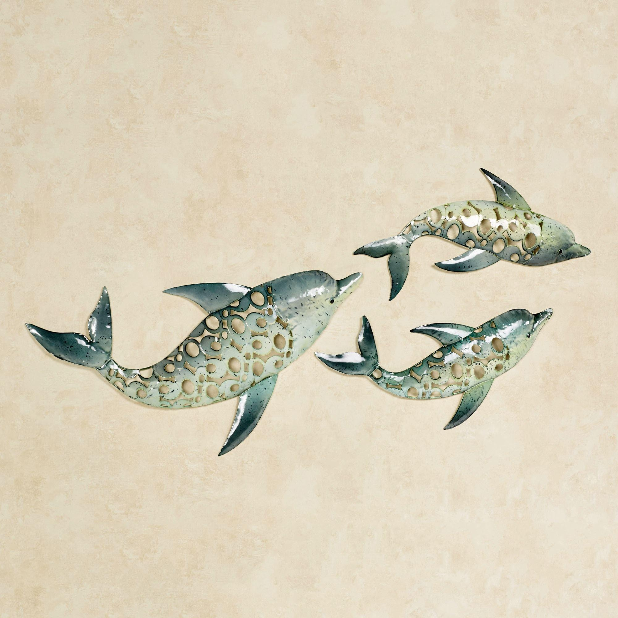 Dolphin Trio Indoor Outdoor Metal Wall Art Set Within Teal Metal Wall Art (Image 4 of 20)
