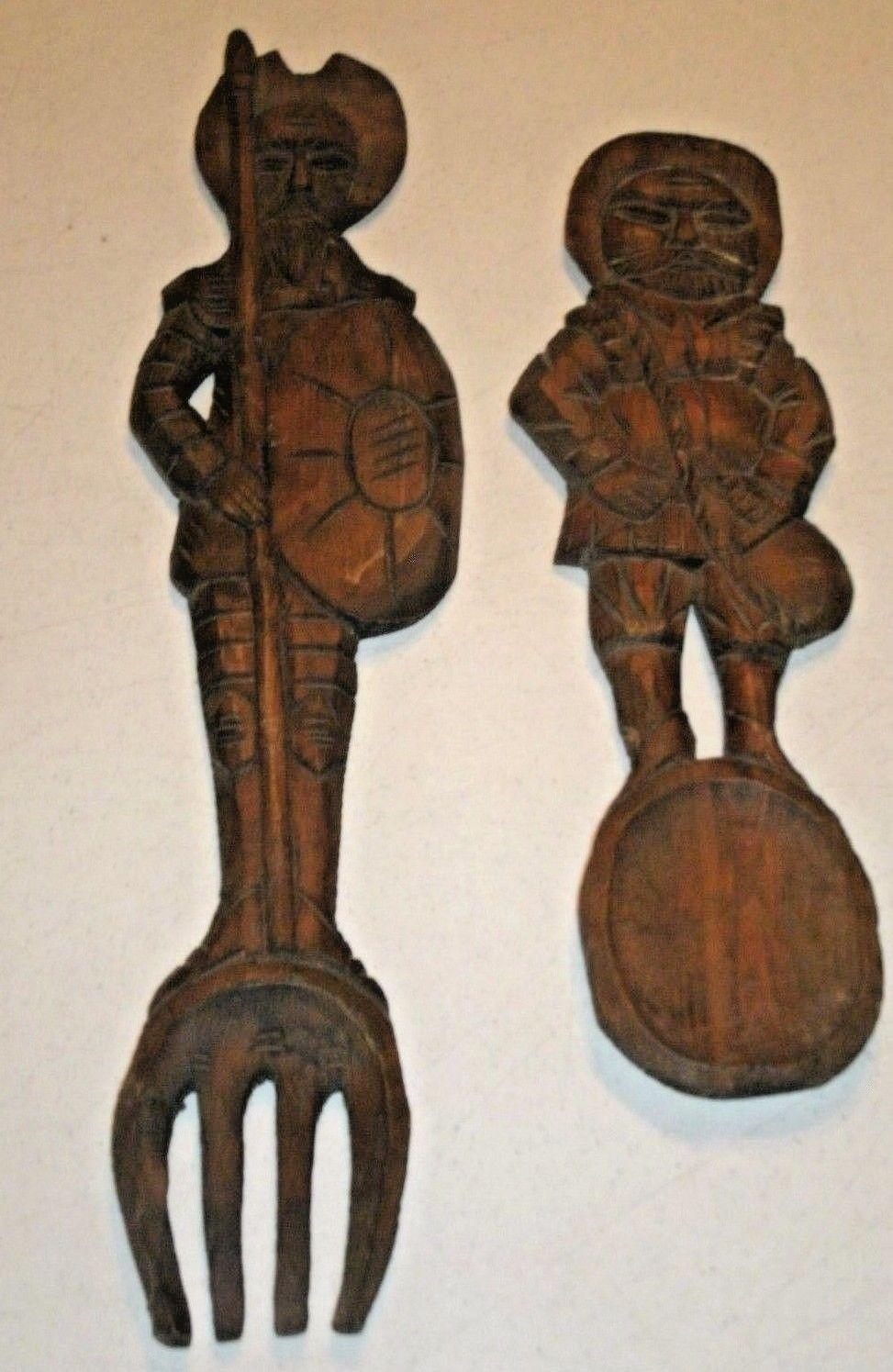 Don Quixote Sancho Panza Carved Set Of Carved Wood Fork Spoon Wall Pertaining To Wooden Fork And Spoon Wall Art (Image 4 of 20)