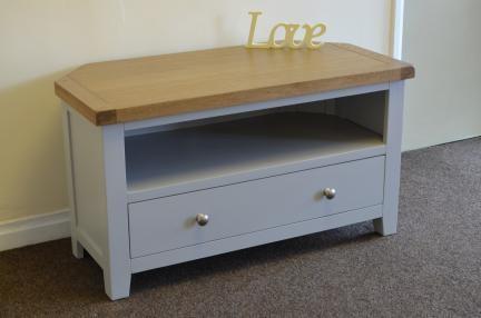 Dorset French Grey Painted Oak & Pine Corner Tv Unit Cabinet Inside Most Current Painted Corner Tv Cabinets (Image 7 of 20)