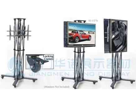 Double Lcd Stand Folding Caster Truss ( Ls 003 )/sales And Throughout Most Recently Released Double Tv Stands (Image 6 of 20)