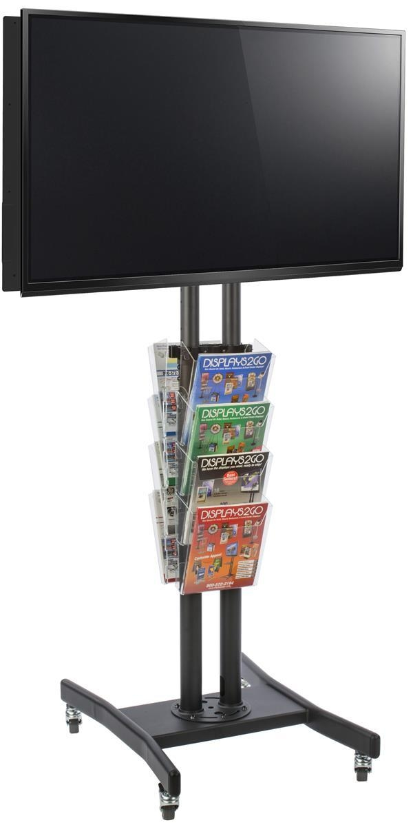 Double Sided Tv Stand With 8 Clear Literature Pockets Inside Most Recently Released Double Tv Stands (Image 9 of 20)