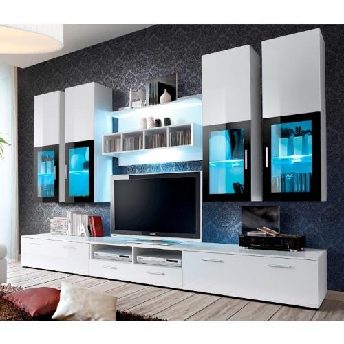 Download White Gloss Wall Units Living Room | Waterfaucets Throughout Latest Tv Units With Storage (View 12 of 20)