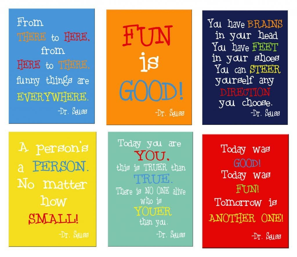 Dr Seuss Quotes Set Of 3 Prints On Stretched Canvas Ea Print Is With Dr  Seuss