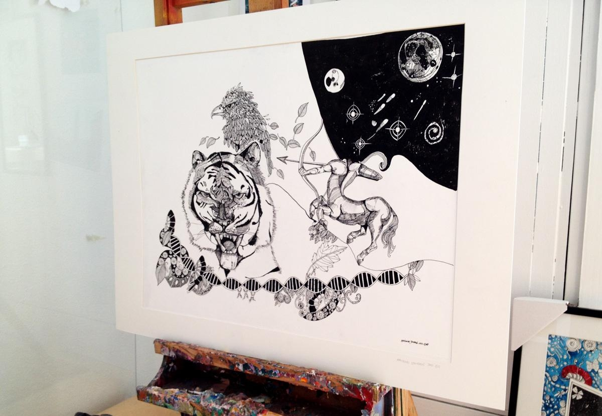 Drawings Animals, Botanical, People In, Surrealistic, Black, White For Dna Wall Art (View 10 of 20)