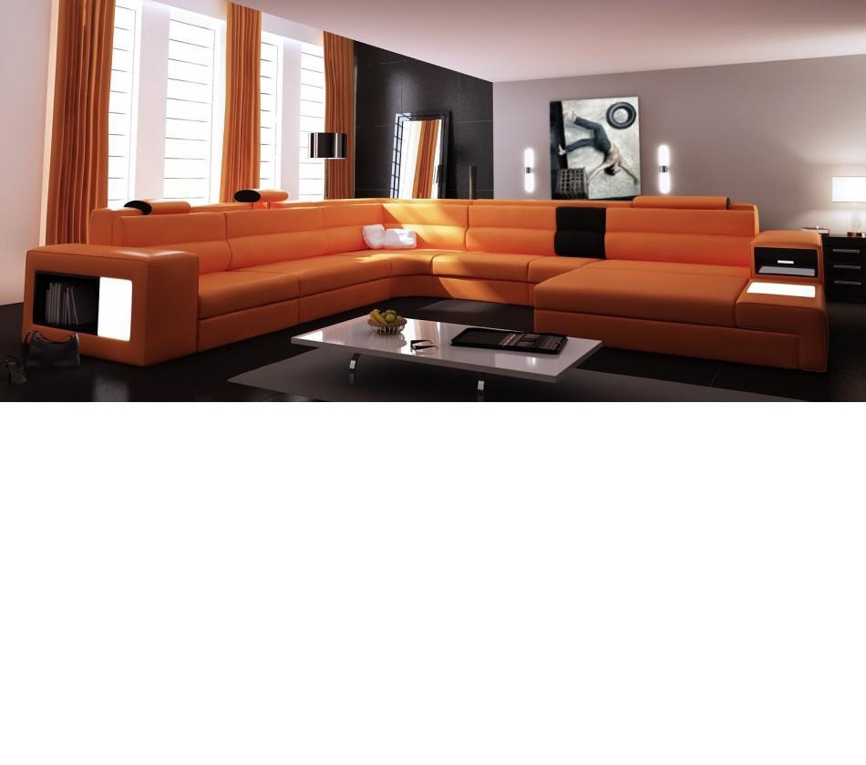 Dreamfurniture – Divani Casa Polaris – Contemporary Leather In Sofas With Lights (View 13 of 21)