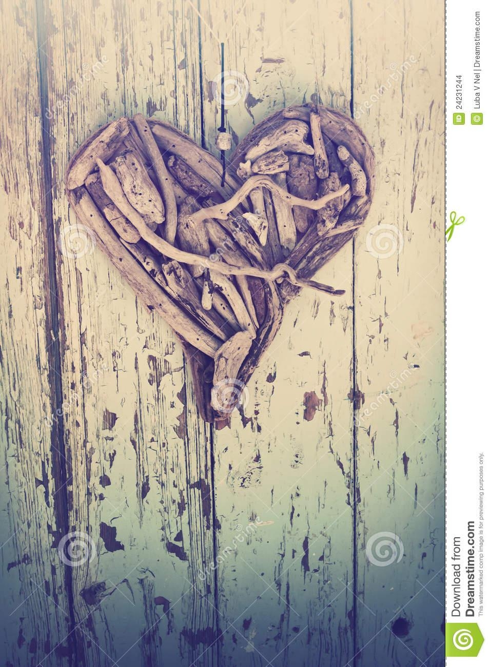 Driftwood Heart On Vintage Wall Stock Images – Image: 24231244 Within Driftwood Heart Wall Art (View 12 of 20)
