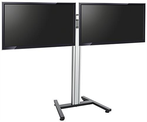 Dual Screen Floor Stand | Height Adjustable Mount With Regard To Most Popular Dual Tv Stands (Image 6 of 20)