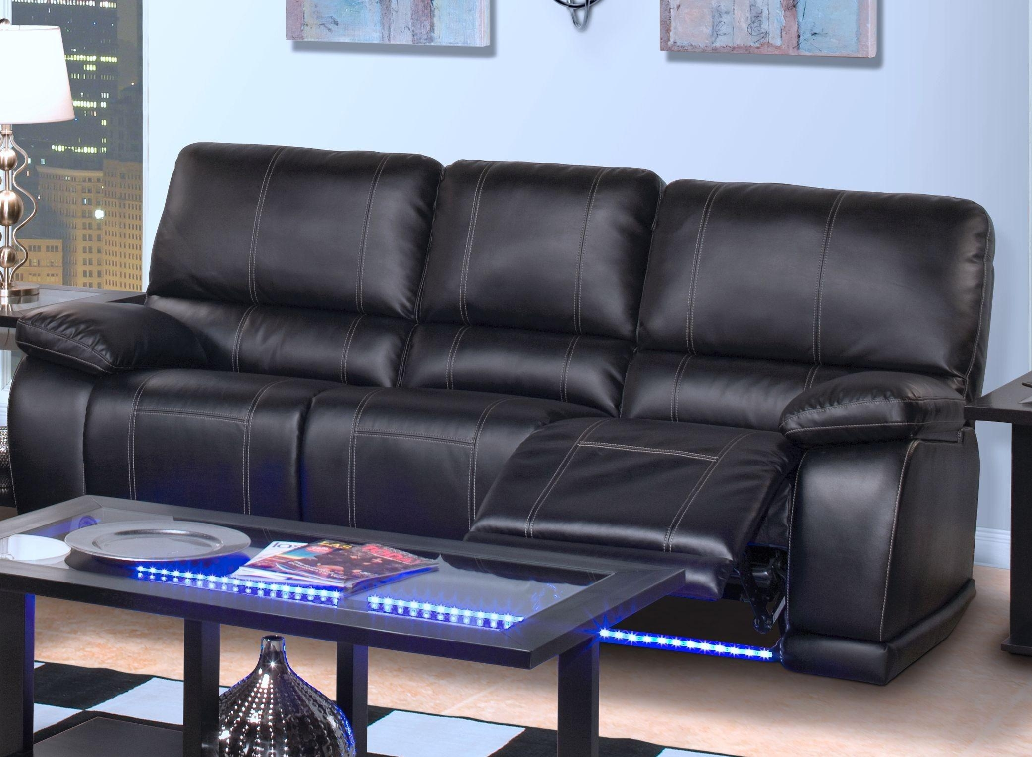 Dylan Power Reclining Sofa Black | Big's Furniture Store Las Vegas For Sofas With Lights (View 17 of 21)