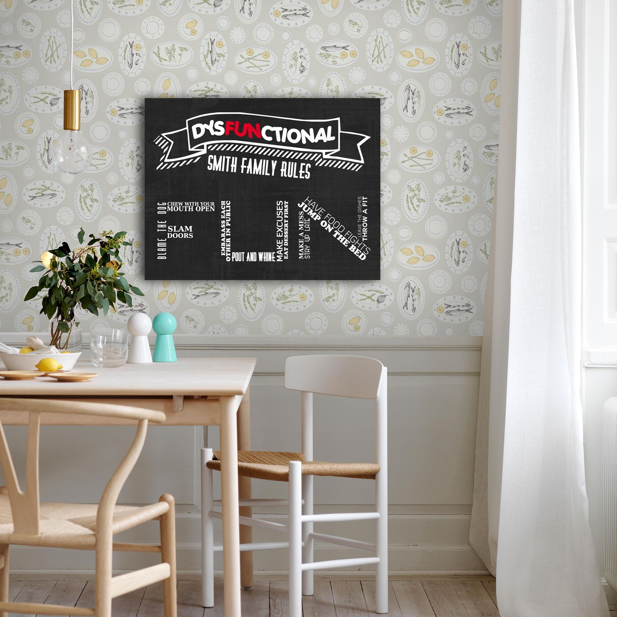 Dysfunctional Family Rules Home Décor Canvas Wall Art – Paper Blast Regarding Family Rules Canvas Wall Art (View 20 of 20)