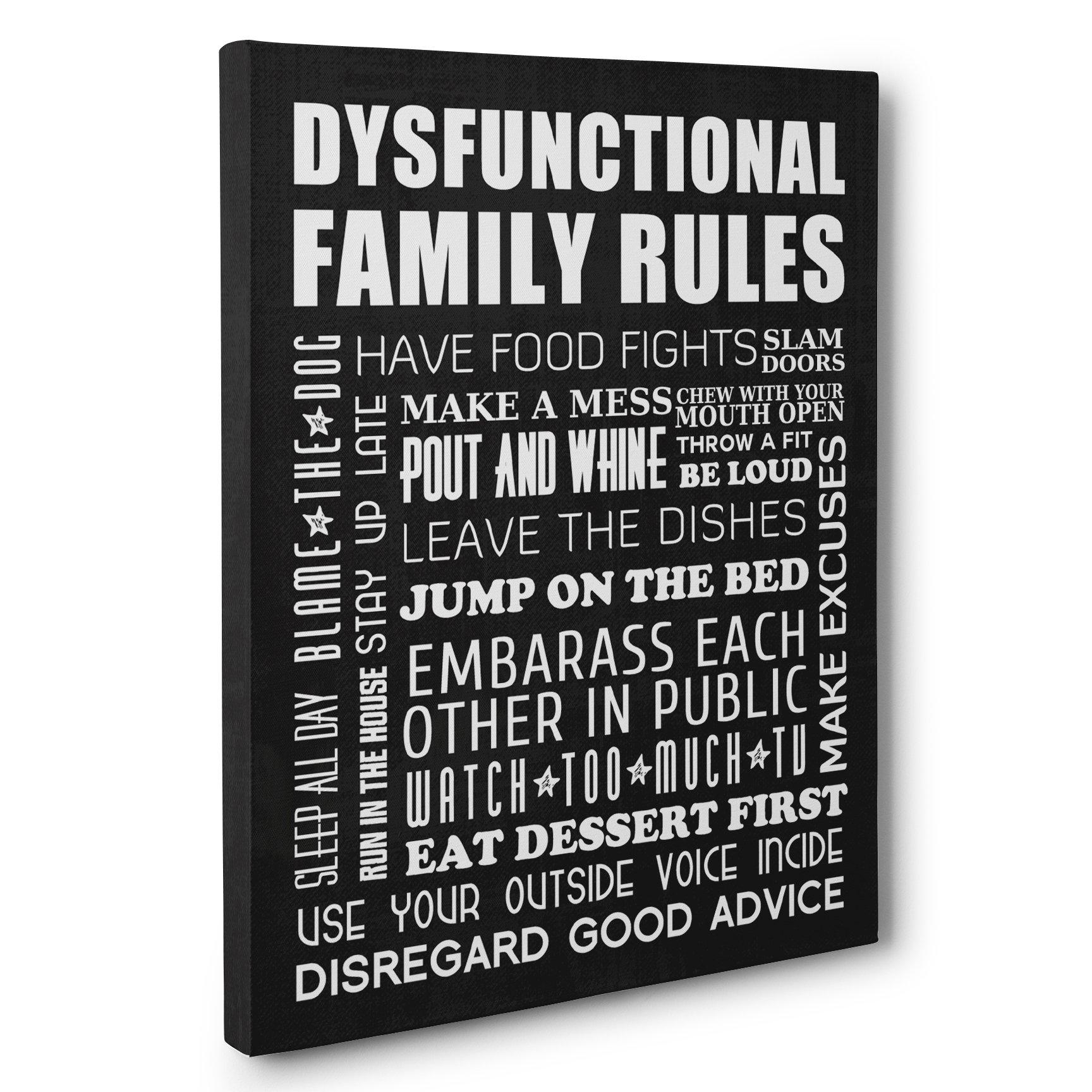 Dysfunctional Family Rules Home Décor Canvas Wall Art U2013 Paper Blast With  Regard To Family Rules