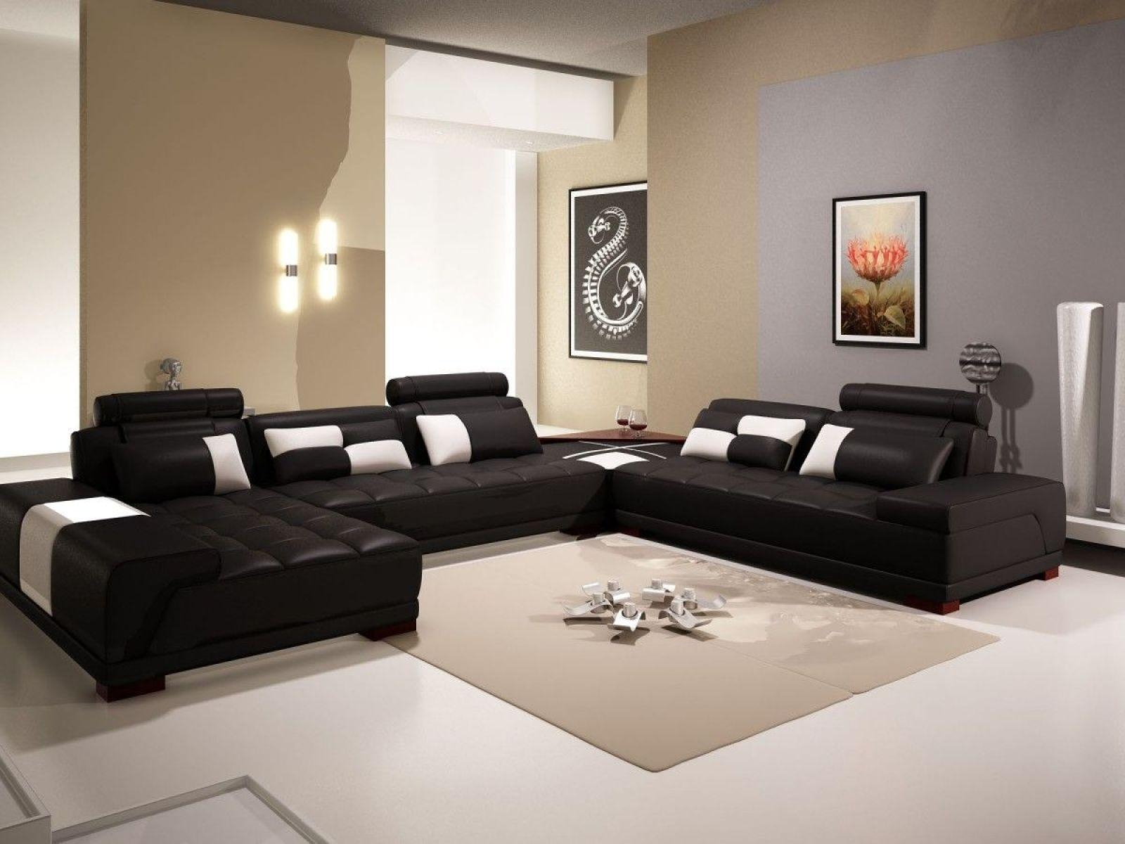 ▻ Sofa : 7 Wonderful Black Living Room Furniture Sets Black Intended For White And Black Sofas (View 17 of 21)