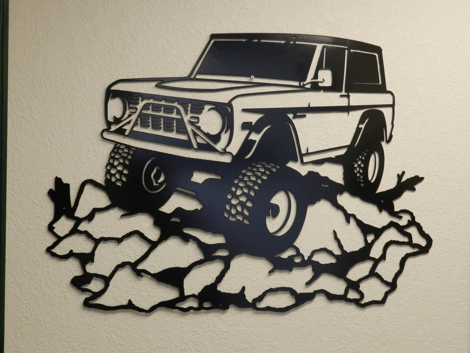 Early Ford Bronco Metal Wall Art With Ford Mustang Metal Wall Art (Image 8 of 20)