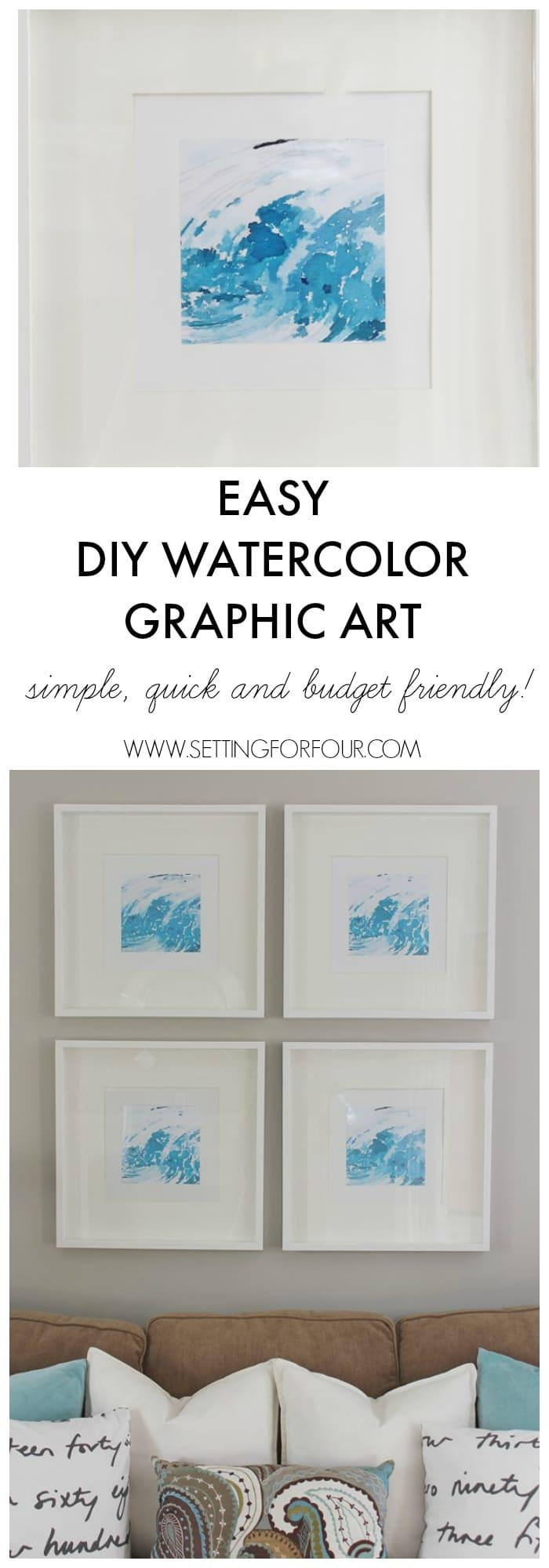 Easy Diy Watercolor Abstract Wall Art – Setting For Four For Diy Watercolor Wall Art (Image 15 of 20)
