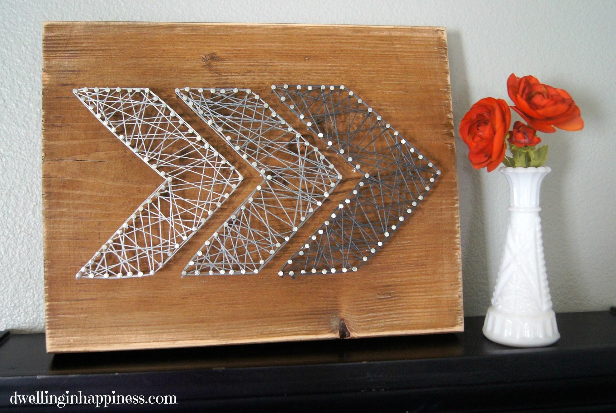 Easy Rustic Arrow String Art – Dwelling In Happiness For Nail And Yarn Wall Art (Image 8 of 20)