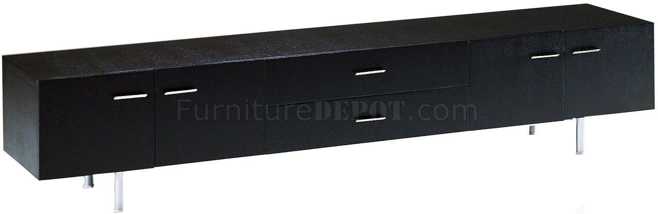 Ebony Finish Modern Long Tv Stand W/doors & Drawers Pertaining To Best And Newest Long Black Tv Stands (Image 6 of 20)