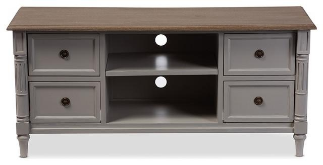 Edouard Distressed Two Tone 4 Drawer Tv Cabinet, White And Light With Regard To Best And Newest Light Colored Tv Stands (Image 7 of 20)