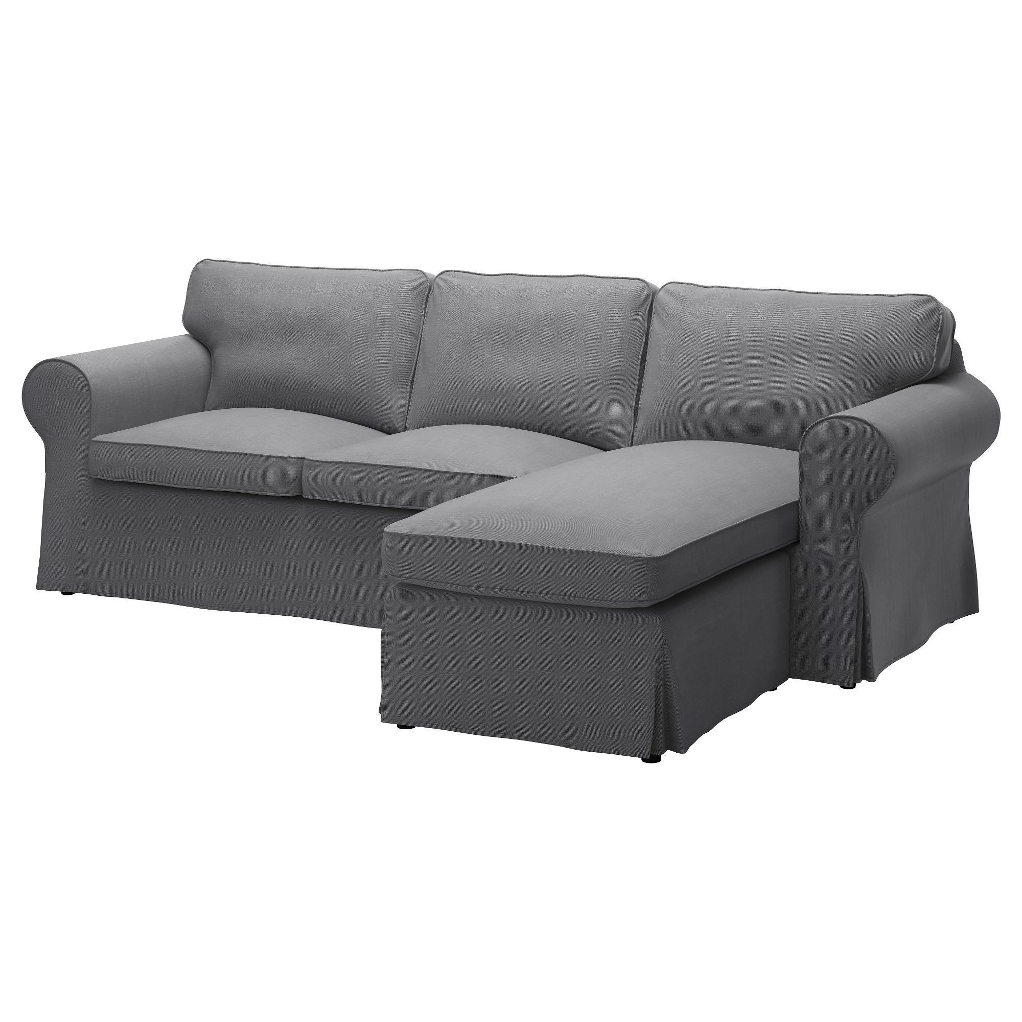 Ektorp 3-Seat Sofa With Chaise Longue/nordvalla Dark Grey - Ikea throughout Ikea Chaise Lounge Sofa