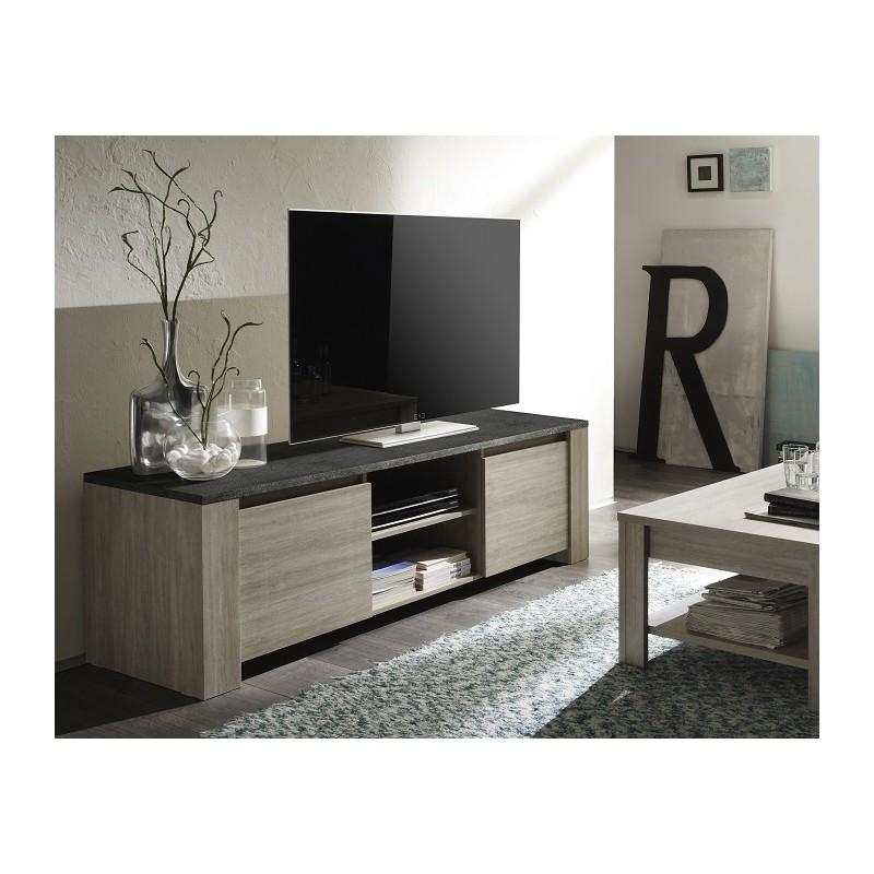 Elba – Oak Tv Stand With Marmor Imitation Top – Tv Stands – Sena For Most Up To Date Grey Wood Tv Stands (Image 13 of 20)