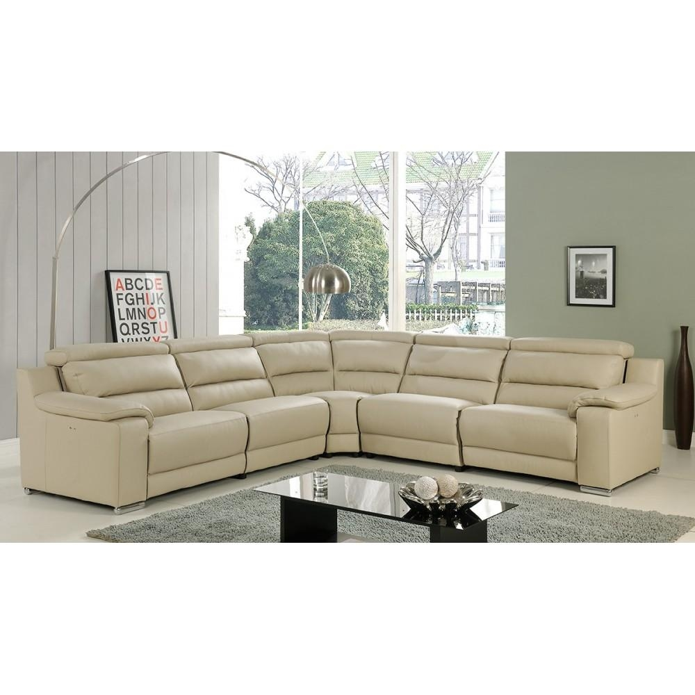 Elda Italian Leather Reclining Sectional Sofa | Beige, At Home Usa Intended For Recliner Sectional Sofas (View 14 of 22)