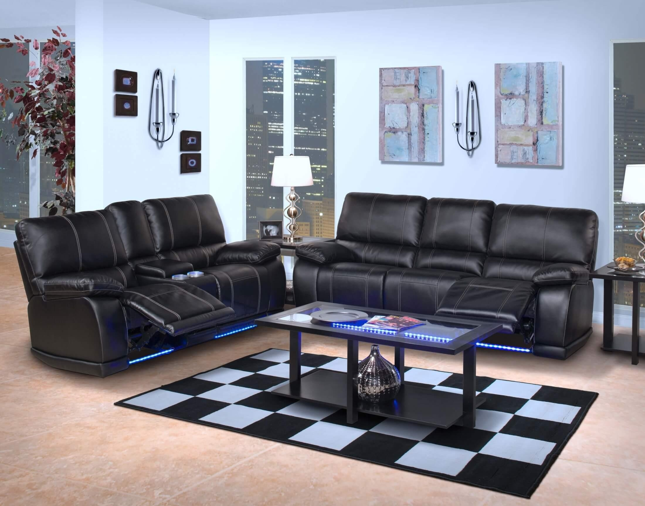 Electra Power Reclining Sectional With Led Lights Intended For Sofas With Lights (Image 10 of 21)