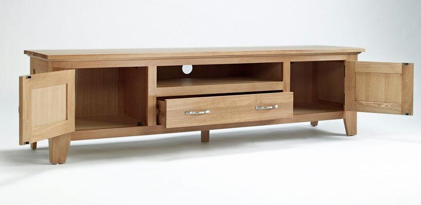 Elegant Oak Widescreen Television Unit | Hampshire Furniture With Regard To Newest Widescreen Tv Cabinets (Image 9 of 20)