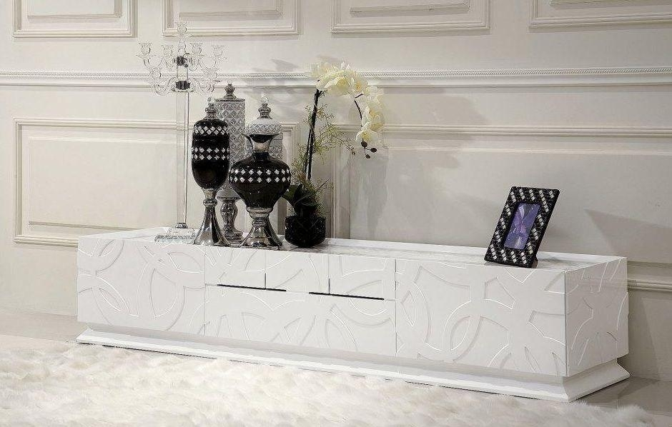 Elegant White Tv Stand With Four Drawers Worcester Massachusetts Throughout Most Popular Luxury Tv Stands (View 9 of 20)