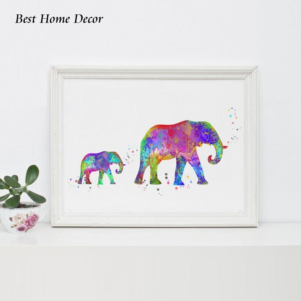 Elephant Art Print Watercolor Baby Elephant Wall Art Wall Hanging For Elephant Wall Art For Nursery (Image 8 of 20)