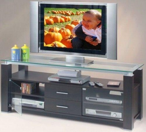 """Elite El 906 Wide 65 3/4"""" Credenza Unit, Tv Stand & Audio Rack Regarding 2018 Wood Tv Stand With Glass Top (View 3 of 20)"""