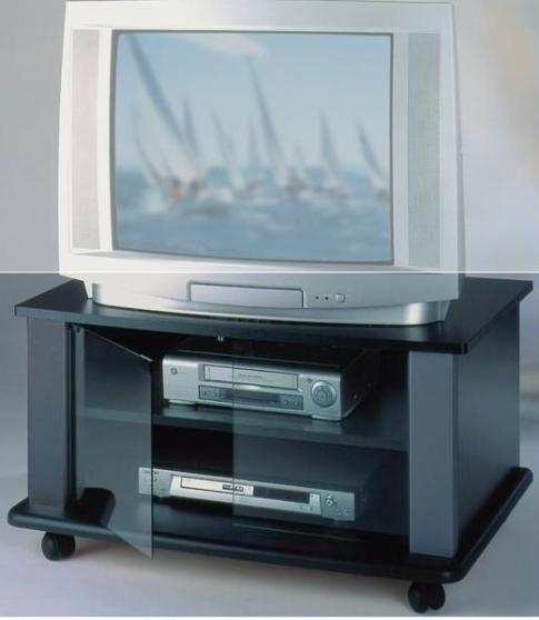 Elite Industries El146B Tv Stand On Heavy Duty Casters Inside Most Popular Black Tv Stand With Glass Doors (View 13 of 20)