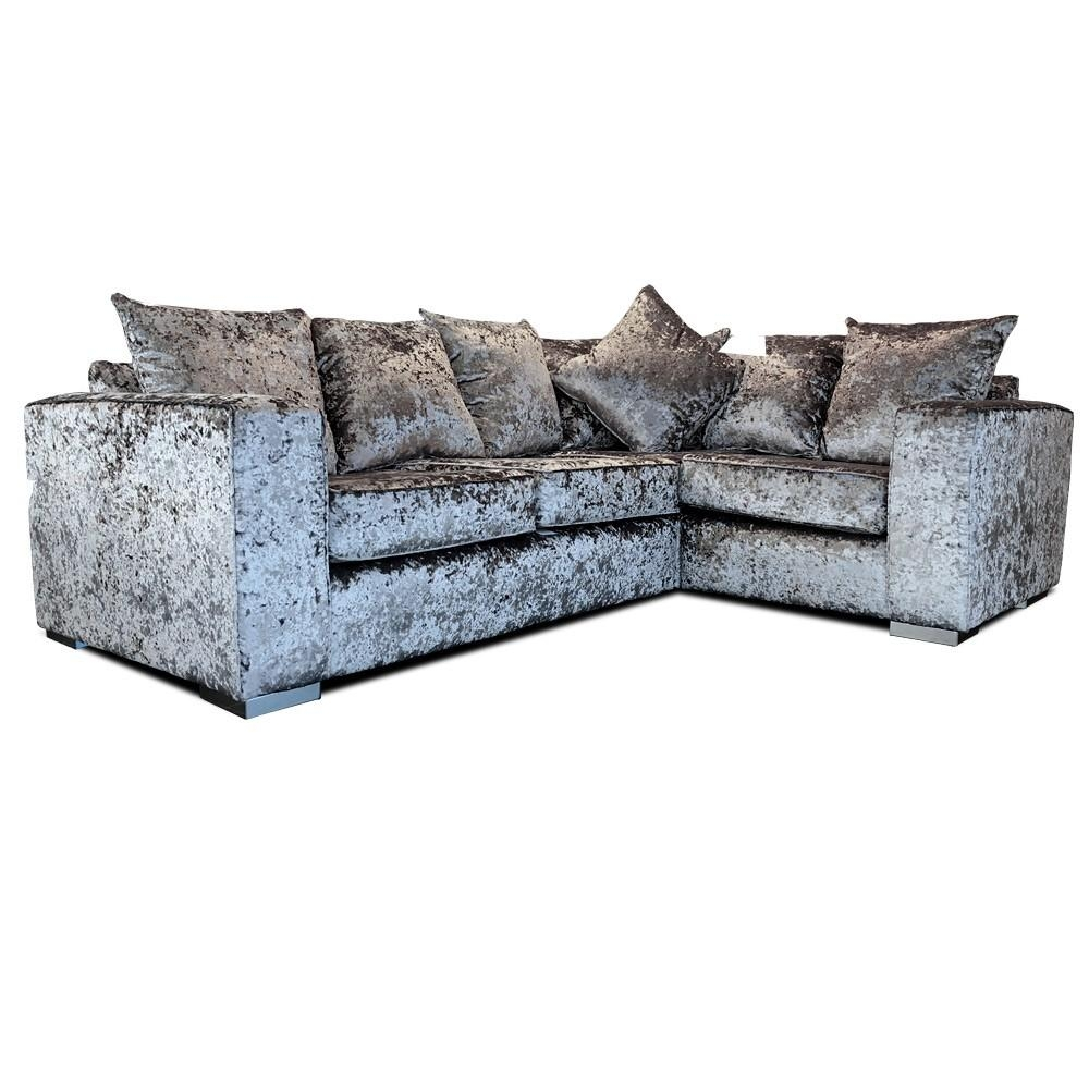 Elstra Crushed Velvet Corner Sofa Grey Fabric L Shaped Sofa As With Regard To L Shaped Fabric Sofas (View 19 of 20)