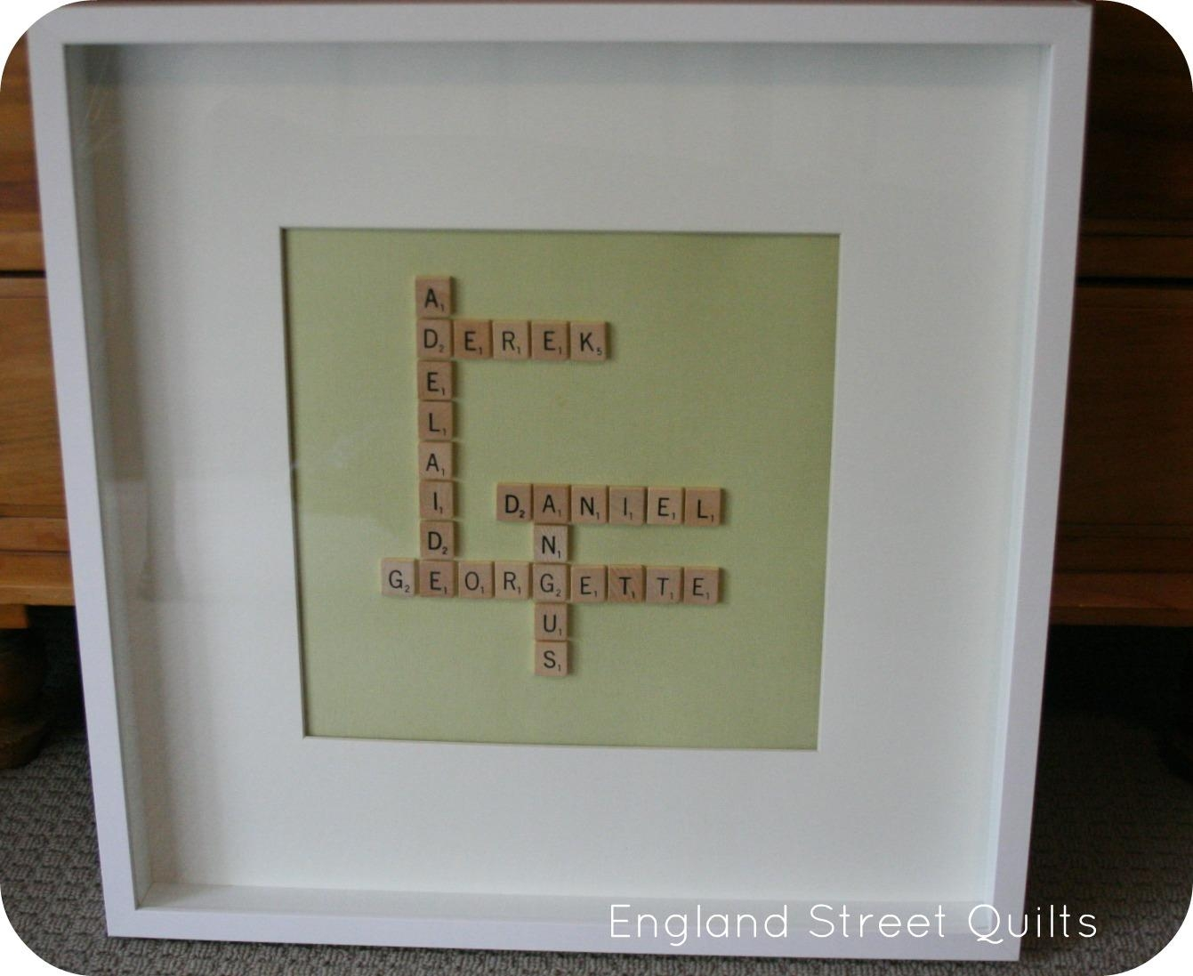 England Street Quilts: Pinspiration – Scrabble Wall Art Tutorial Intended For Scrabble Names Wall Art (View 10 of 20)