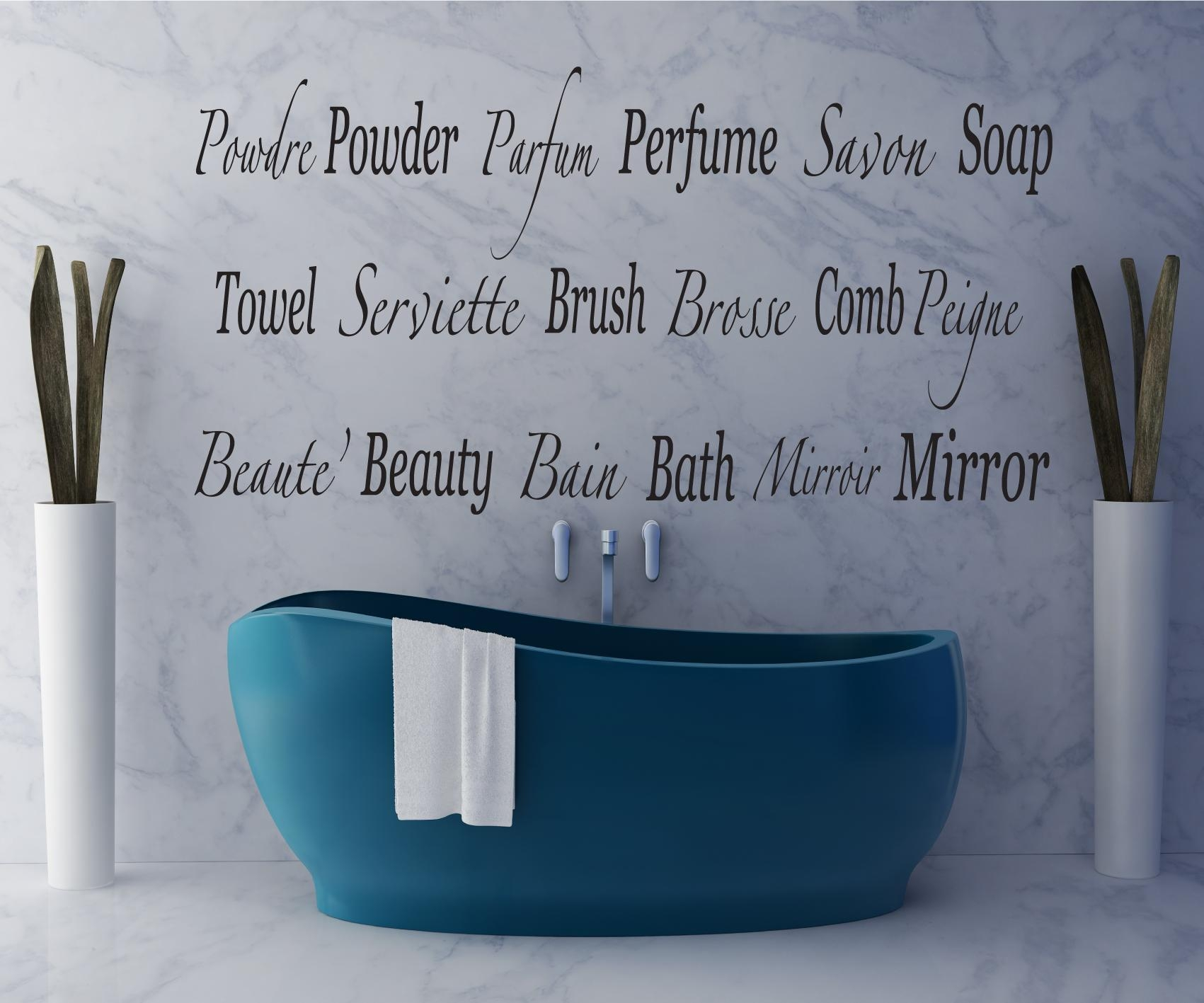 English, French, Bathroom Words | Feature Wall Art In French Bathroom Wall Art (View 17 of 20)