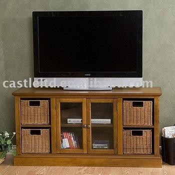 Entertainment Center With Storage Baskets;tv Stand;wood Tv Stand In Most Current Tv Stands With Storage Baskets (Image 10 of 20)