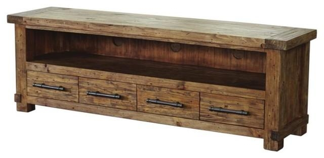 Entertainment Unit, Pine Wood With Weathered Finish – Rustic Regarding Most Up To Date Pine Wood Tv Stands (Image 5 of 20)