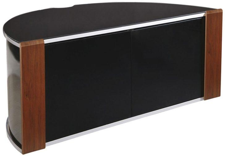 Enthralling Modern Corner Tv Stand In Half Round Shape From Brown And Black Woods 728X506 With Regard To Most Recently Released Tv Stands With Rounded Corners (View 8 of 20)