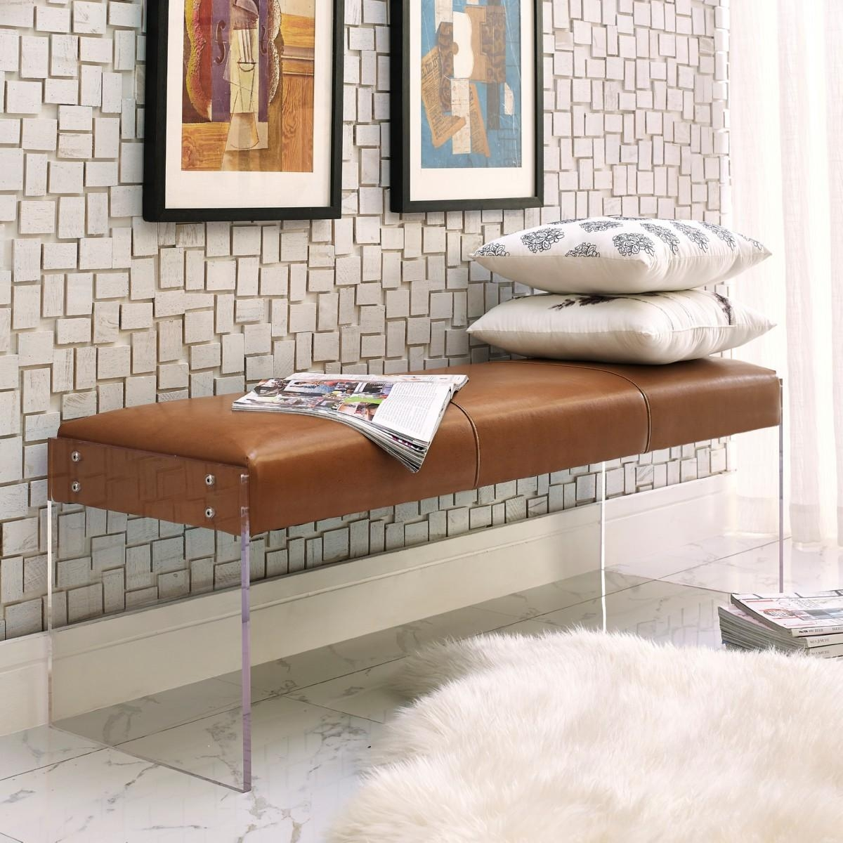 Envy Bench | Leather/acrylic, Tov Furniture – Modern Manhattan Inside Leather Bench Sofas (View 22 of 22)