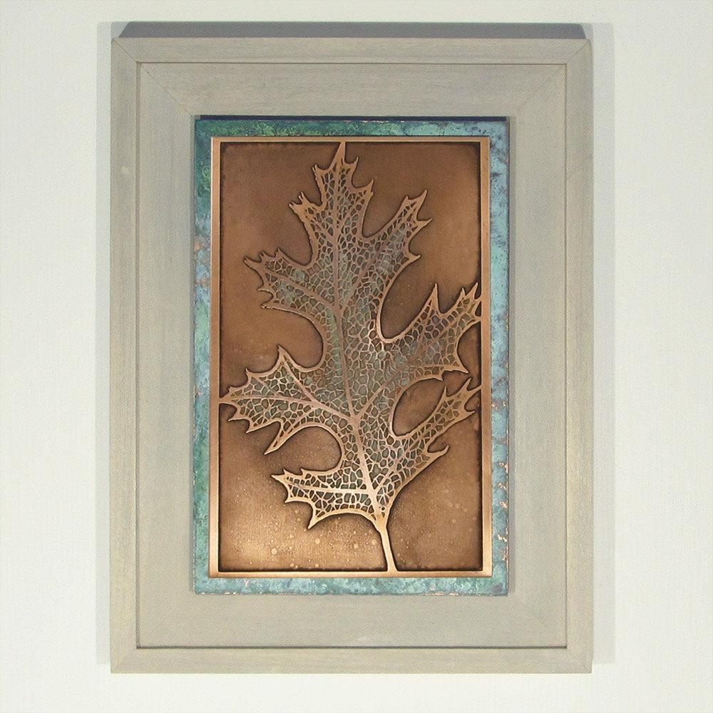 Etched Copper Oak Leaf Wall Art Framed Wall Art Nature Art Within Copper Oak Tree Wall Art (Image 7 of 20)