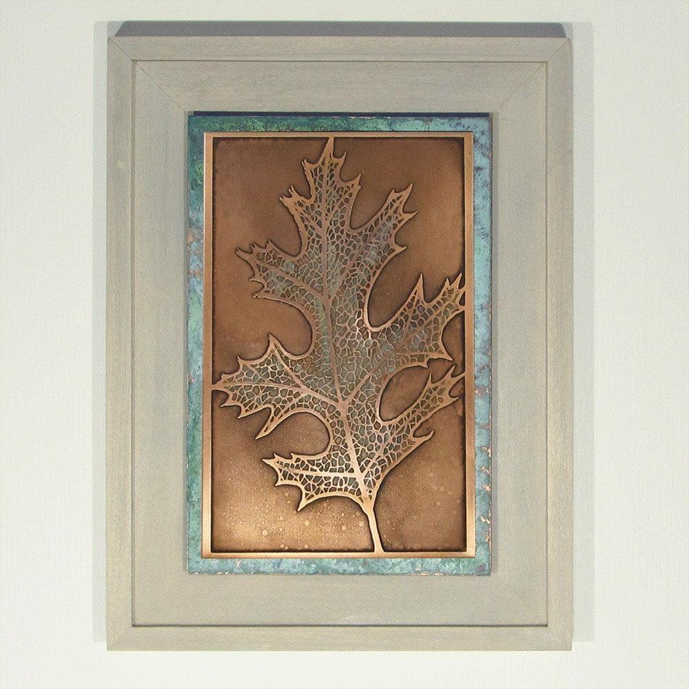 Etched Copper Oak Leaf Wall Art Framed Wall Art Nature Art Within Copper Oak Tree Wall Art (View 11 of 20)