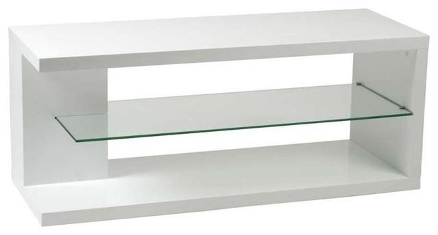 Eurostyle Hilda Media Stand In White Lacquered W/ Glass Shelf Intended For Best And Newest White Glass Tv Stands (Image 7 of 20)