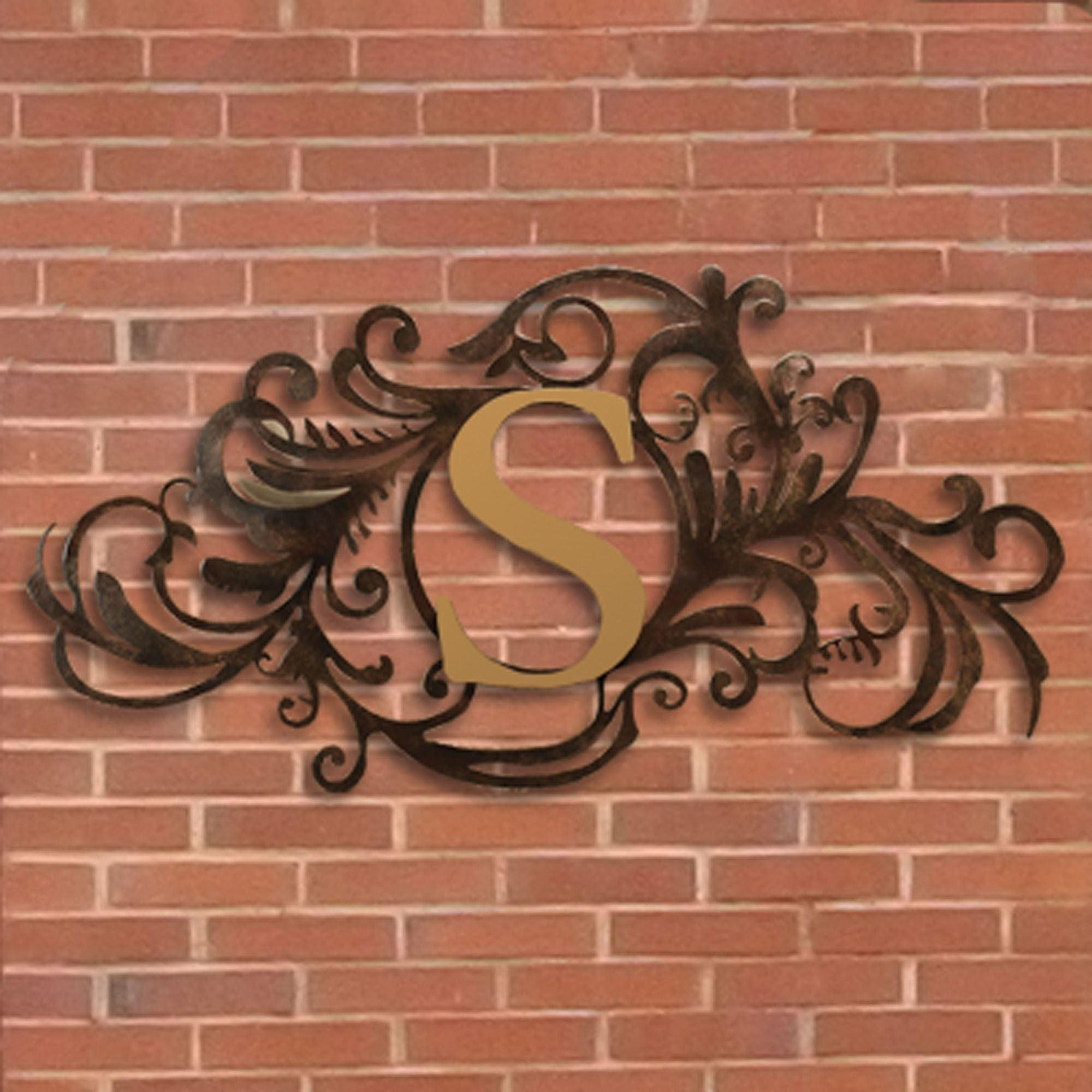 Evanston Indoor Outdoor Monogram Metal Wall Art Sign Intended For Monogram Metal Wall Art (View 4 of 20)