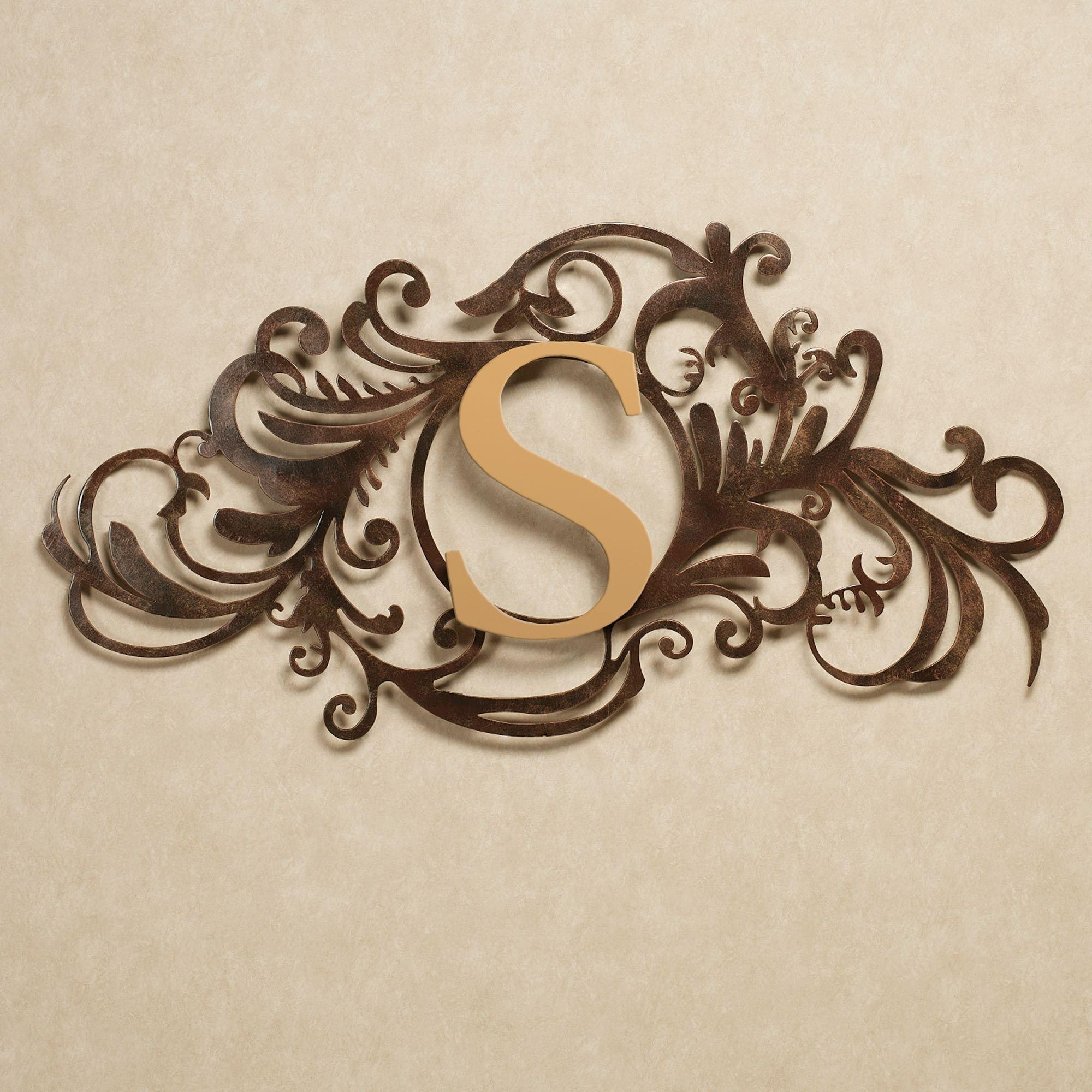 Evanston Indoor Outdoor Monogram Metal Wall Art Sign Intended For Monogram Metal Wall Art (Image 4 of 20)