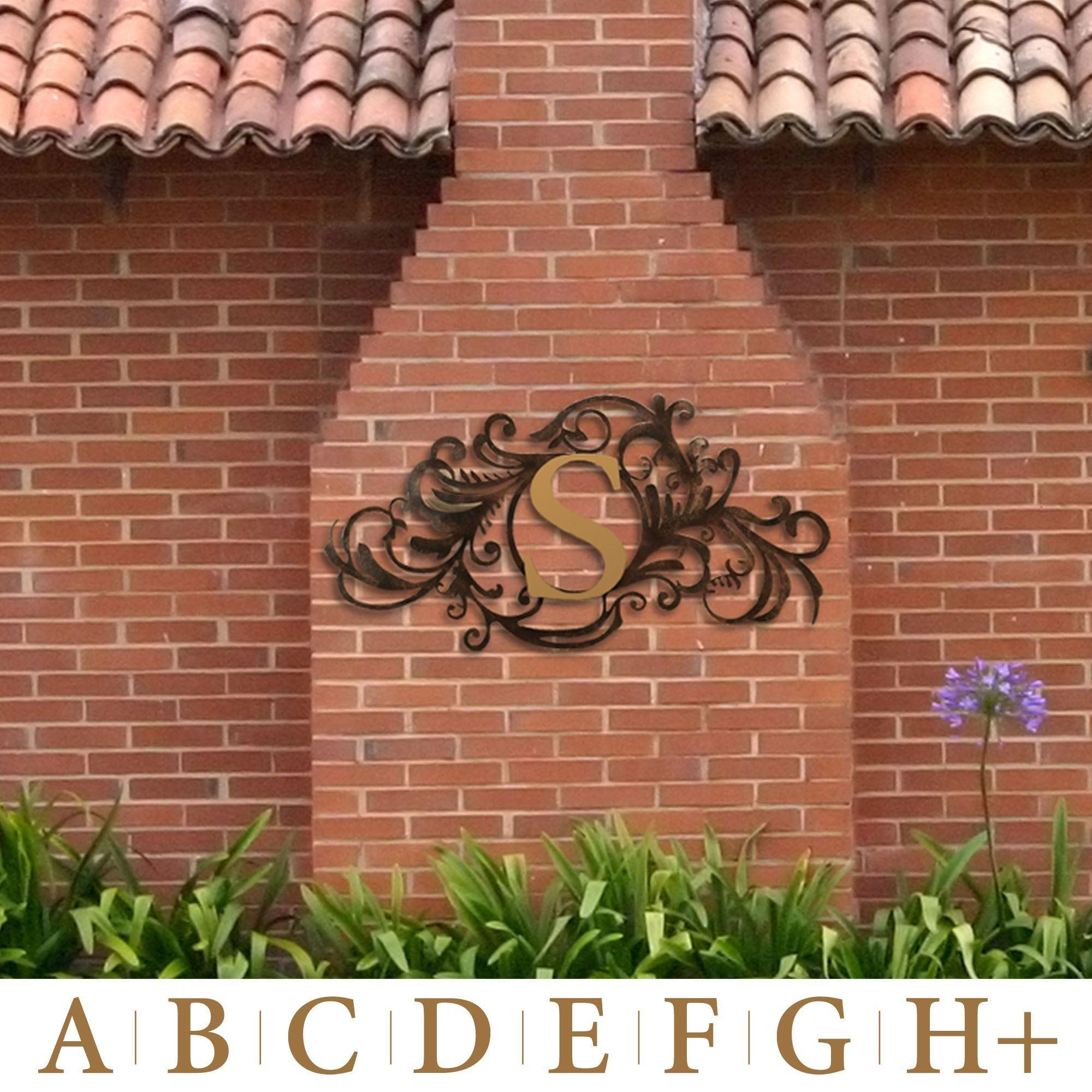 Evanston Indoor Outdoor Monogram Metal Wall Art Sign Throughout Monogram Metal Wall Art (View 5 of 20)